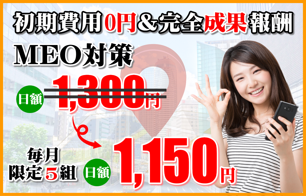 毎月限定特別価格MEO対策の日額1,150円